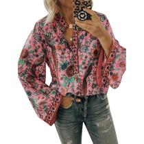 Pink Peacock Print Long Sleeve Blouse TQK220030-10