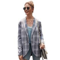 Gray Plaid Print Lady Blazer Suit TQK260030-11