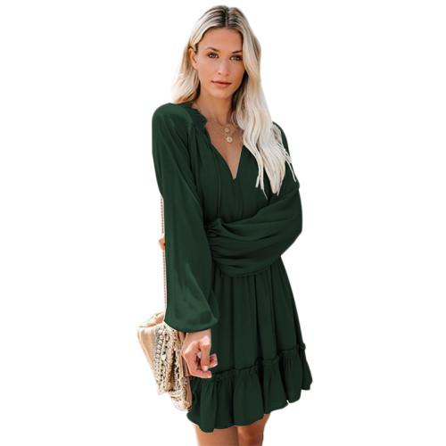 Green V Neck Loose Fit Skater Dress TQK310169-9