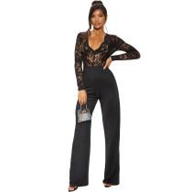 Black Lace Splice Slim Fit Jumpsuit TQS550011-2