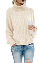 Beige Turtleneck Balloon Long Sleeve Pullover Sweater LC270200-15