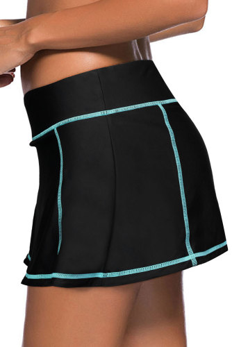 Sky Blue Stitch Trim Black Swim Skirt Bottom LC412137-4