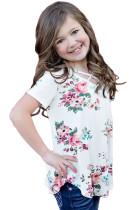 White Crisscross V Neck Little Girl Floral Top
