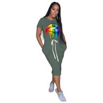 Army Green Lips Print Elastic Waist Casual Dress TQK310322-27