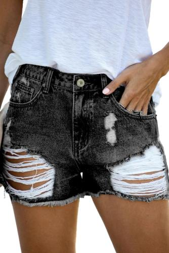 Black Clubhouse High Rise Distressed Denim Shorts LC786260-2