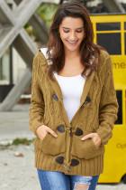 Brown Fur Hood Horn Button Sweater Cardigan