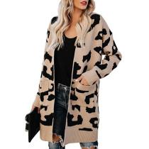 Coffee Leopard Print Down Pocketed Knit Cardigan TQK270056-15