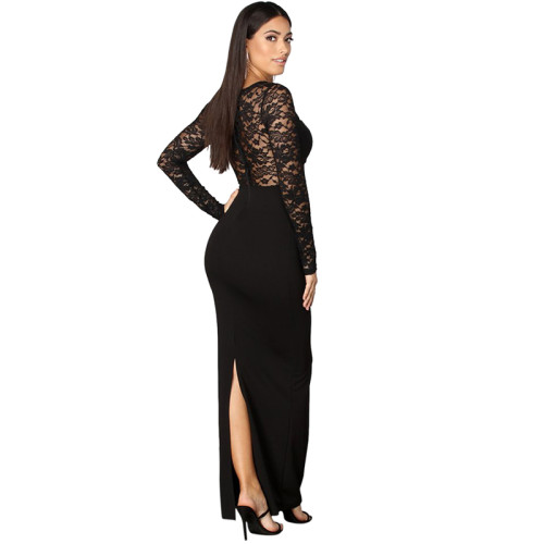 Black Long Sleeve Sheer Lace Evening Dress TQS330017-2