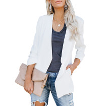 White 3/4 Sleeve Lightweight Blazer With Pockets TQK260015-1 (This items size is smaller, pls select