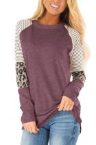Striped and Leopard Color Block Sleeves Top LC252924-103