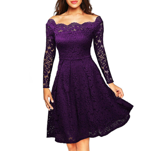 Purple Scalloped Off Shoulder Long Flared Sleeve Lace Dress TQS350022-8