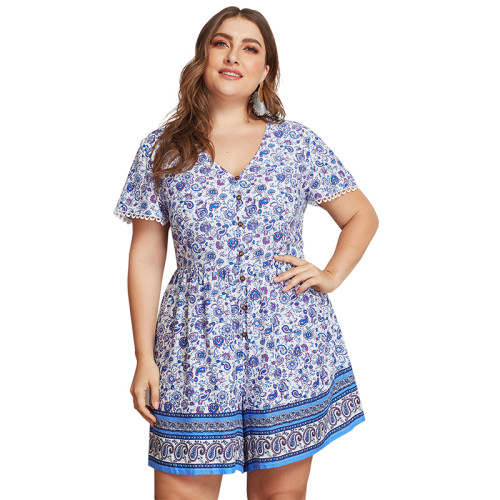 Light Blue Floral Print Plus Size Romper TQK550057-30