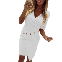White V Neck Metal Button Midi Dress TQK310235-1