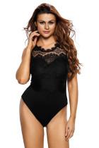 Black Lace High Neck Cut Out Back Bodysuit