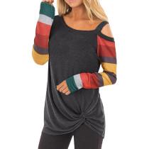 Gray Cold Shoulder Color Block Long Sleeves Tops TQK210250-11