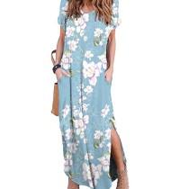 Light Blue Floral Print Short Sleeve Slit Maxi Dress