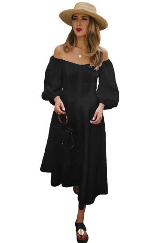 Black Off Shoulder Puff Sleeve Button Front Vintage Dress