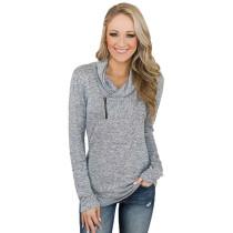 Light Gray Zipper Heap Collar Pullover Hoodie TQK230023-25
