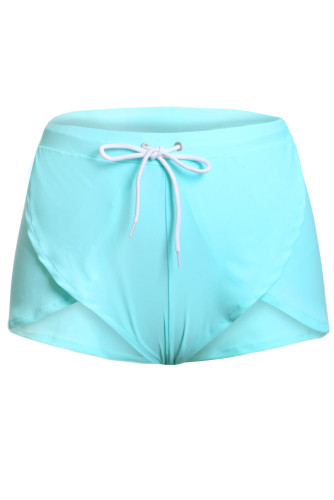 Solid Green Drawstring Waist Boyshort Beach Bottom LC410677-9