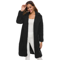 Black Turndown Collar Long Furry Coat TQK280041-2