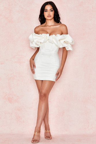 White Off Shoulder Bodycon Dress TQS910030-1