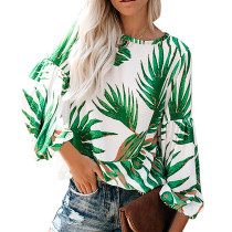 Green Floral Printed Blouse TQK210166-9