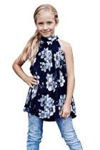 Blue Little Girls Floral A-line Blouse TZ25095-5