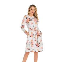 White Bohemia Print Tie Wasist Casual Dress TQK310189-1