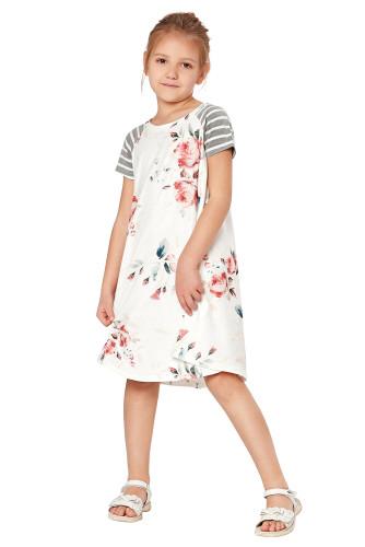 White Stripes Short Sleeve Floral Little Girl Dress