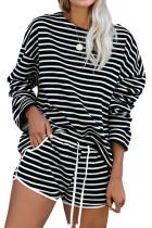 Black Striped Lounge Long Sleeves Shorts Set LC45063-2
