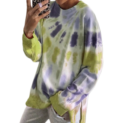 Light Yellow Cotton Blend Tie Dye Plus Size Sweatshirt TQK210431-42