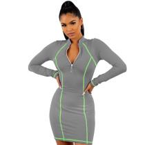 Gray 1/4 Zipper Bodycon Mini Dress TQK310216-11