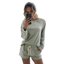 Gray Long Sleeve Shorts Set TQK710054-11