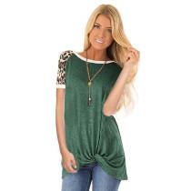 Green Leopard Short Sleeves Twist Front Tee TQK210262-9