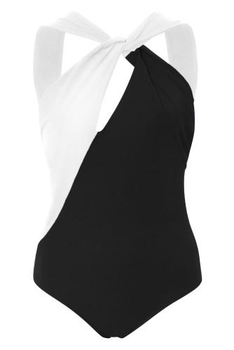 Black Colorblock Splicing One-piece Swimwear LC412081-2