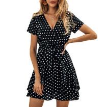 Black Polka Dot Ruffles Hem Mini Dress TQK310127-2