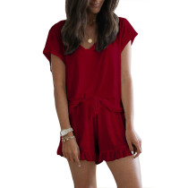 Wine Red Ruffle Hem Drawstring Pajama Set TQK710048-103