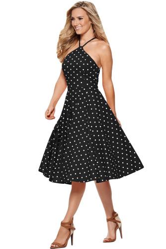 Black White Polka Dot Flared Vintage Dress