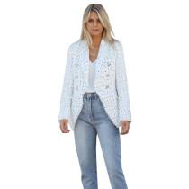 White Plaid Print Button Blazer Suit TQK260032-1