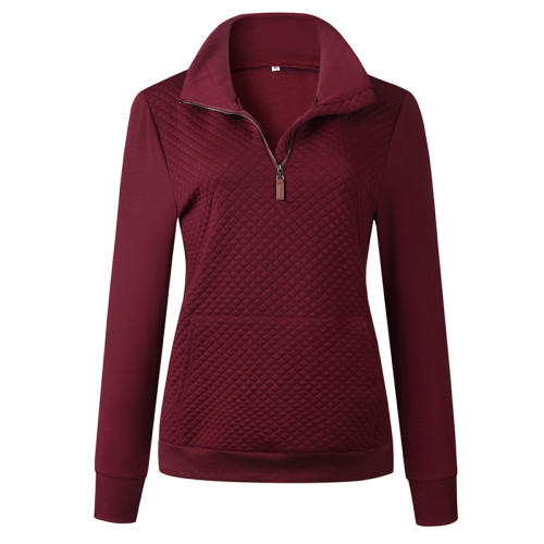 Wine Red Half Zip Kangroo Pocket Sweatshirt TQK230028-103