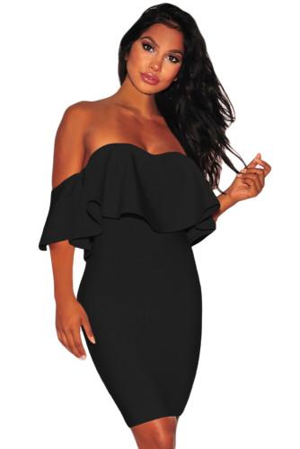 Solid Black Ruffle Off Shoulder Bandage Dress