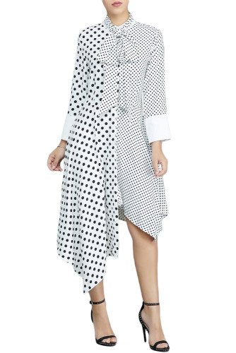 White Polka Dot Asymmetric Vintage Dress