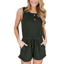 Army Green Sleeveless Casual Romper TQK550055-27