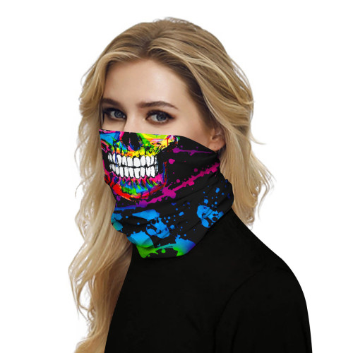 Multicolor Skull Print Multifunction Outdoor Cycling Mask TQZ910057