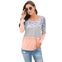 Pink Leopard And Striped Long Sleeve Top TQK210400-10
