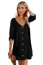 Black V Neck Button Front Roll up Tab Sleeve Dress