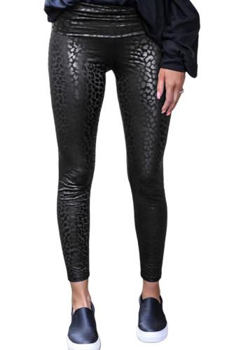 Black Shiny Leopard Textured Leggings LC76009-2