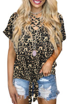 Leopard Hollow-out Neck Tee with Knot Hem LC253586-20