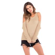 Khaki Cold Shoulder Long Sleeve Knit Blouse GJZ0078-21