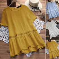 Yellow Short Sleeve Cotton Plus Size Tops TQS210040-7